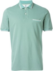 Brunello Cucinelli Piped Collar Polo Shirt Green