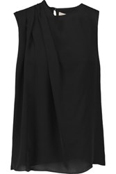 Halston Heritage Pleated Washed Silk Georgette Top Black