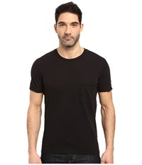 7 For All Mankind Short Sleeve Raw Pocket Crew Black Men's Clothing