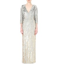 Jenny Packham Sequin Embellished Silk Gown Dawn Gold