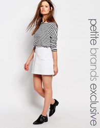 Waven Petite Denim Mini Skirt With Pocket Detail White