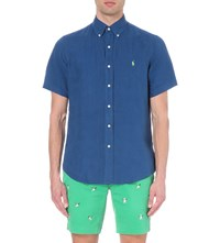 Ralph Lauren Linen Short Sleeved Shirt Blue