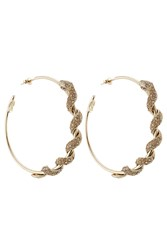 Roberto Cavalli Embellished Hoop Earrings Gold