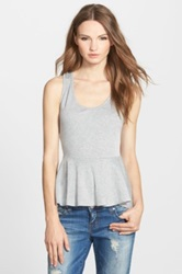 Painted Threads Ribbed Peplum Tank Juniors Gray