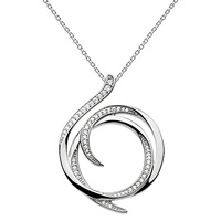 Kit Heath Sterling Silver Cubic Zirconia Regent Helix Pave Necklace Silver