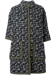 Emanuel Ungaro Half Sleeve Tweed Coat Black