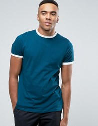New Look Ringer T Shirt In Teal Teal Blue