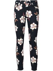 7 For All Mankind Floral Print Skinny Jeans Black