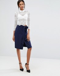 Closet London Self Tie Belt Front Vent Pencil Skirt Navy Blue