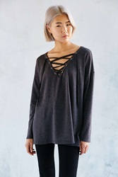 Silence And Noise Silence Noise Rex Lace Up Tunic Top Black