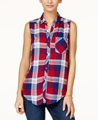 At Last Juniors' Sleeveless Plaid Button Down Shirt Red Navy White