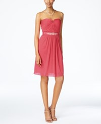 Adrianna Papell Strapless Ruched Dress French Coral