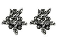 Oscar De La Renta Flower Pearl Button Earrings Black Diamond Silver