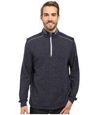 Bugatchi Cosmo Long Sleeve 1 4 Zip Knit Shirt Navy Men's Long Sleeve Pullover