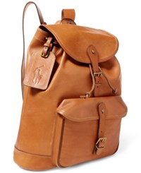 Polo Ralph Lauren Men's Leather Drawstring Backpack Congac