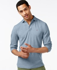 Tommy Hilfiger Men's Long Sleeve Classic Fit Polo Chambray Blue Heather