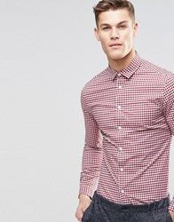 Asos Skinny Shirt In Red Gingham Check With Long Sleeves Red