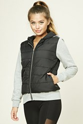 Forever 21 Active Colorblock Puffer Jacket Black Heather Grey