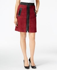 Eci Faux Suede Mixed Media A Line Skirt Burgundy Black Pleather
