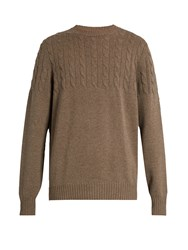 Brunello Cucinelli Half Cable Knit Wool And Cashmere Blend Sweater Light Brown