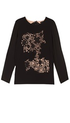 Tibi Crochet Embroidered 3 4 Sleeve Top