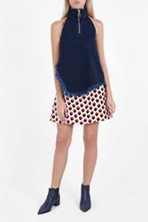 Marques Almeida Houndstooth Zip Up Top Navy