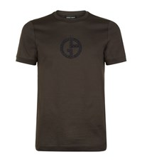 Giorgio Armani Embroidered Logo T Shirt Male Brown