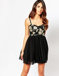 Lipstick Boutique Flossy Bandeau Skater Dress With Sequin Top Goldseqin