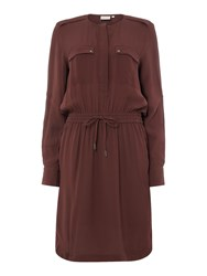 Inwear Tie Waist Long Sleeve Shirt Dress Burgundy