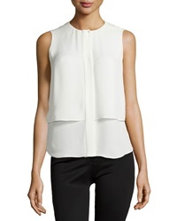 Theory Gentaire Double Georgette Layered Top Ivory