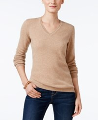 Charter Club Petite Cashmere V Neck Sweater Only At Macy's Heather Camel