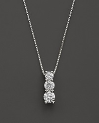 Bloomingdale's Diamond Three Stone Pendant Necklace In 14K White Gold .45 Ct. T.W.