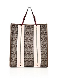 Valentino Canvas And Leather Tote Brown