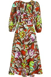 Duro Olowu Ruffled Floral Print Cloque Dress Red