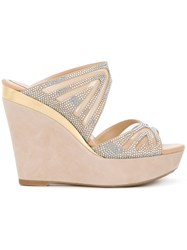 Rene Caovilla Embellished Wedge Mules Nude And Neutrals