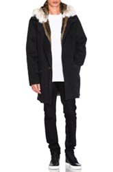 Yves Salomon Twill Parka With Natural Rabbit And Coyote Fur In Black