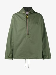 Palm Angels Cotton Military Anorak Army Green Off White