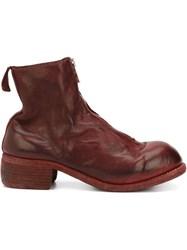 Guidi Front Zip Ankle Boots Red