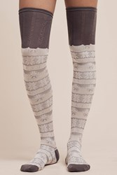 Anthropologie Over The Knee Textured Socks Light Grey