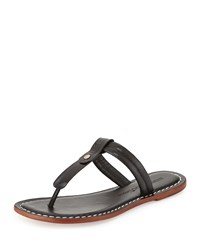 Bernardo Mercer Leather Thong Sandal Black