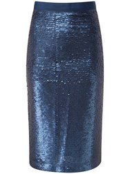 Pure Collection Arielle Pencil Skirt Navy Sequin
