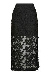 Topshop Applique Lace Midi Skirt Black
