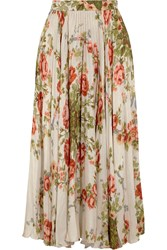 Gucci For Net A Porter Pleated Floral Print Silk Midi Skirt Ecru Green