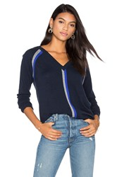 Autumn Cashmere Boyfriend V Neck Sweater Blue