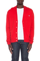 Maison Kitsune Maison Kitsune Classic Virgin Wool Cardigan Tricolore Patch In Red