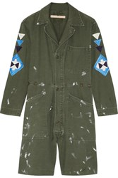 Bliss And Mischief St. Ellen Embroidered Cotton Canvas Playsuit Army Green