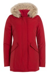 Woolrich Arctic Down Parka With Fur Trimmed Hood Red