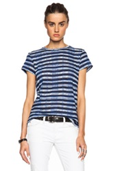 Proenza Schouler Printed Tissue Jersey Baggy Tee In Stripes Blue Black Checkered And Plaid