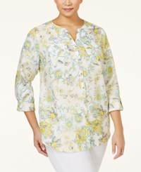 Jm Collection Woman Jm Collection Plus Size Linen Printed Blouse Only At Macy's Plume Paisley