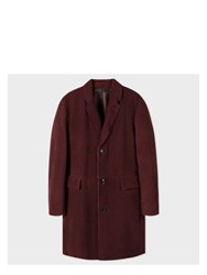 Paul Smith Men's Burgundy Shearling Sheepskin Coat Red